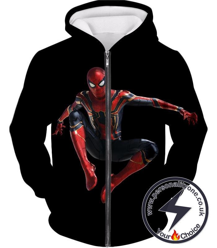 Awesome New Homecoming Spiderman Suit Black[] Action Zip Up Hoodie